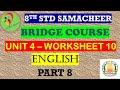 8th English Work Sheet 10 Bridge Course Answer Key
