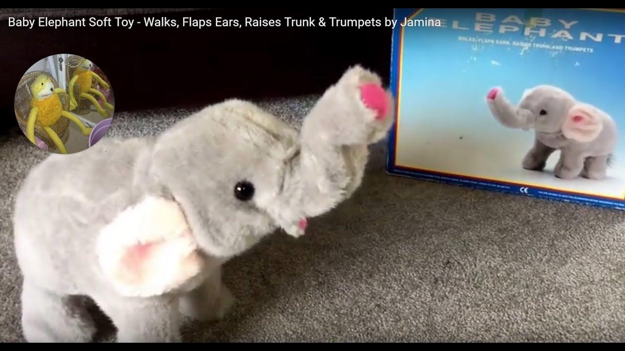Baby Elephant Soft Toy Walks Flaps Ears Raises Trunk Trumpets