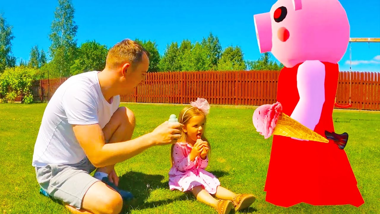 Bridget makes friends with Roblox Piggy and plays with Ice Scream Rod