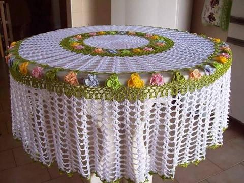 Manteles de mesa en punto crochet tejidos con crochet y for Manteles para mesa