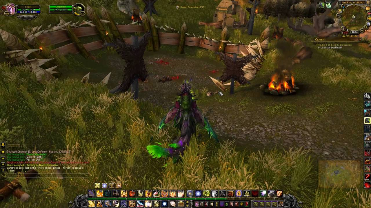 The Ring of Blood Brokentoe Quest ID 9962 Playthrough Nagrand