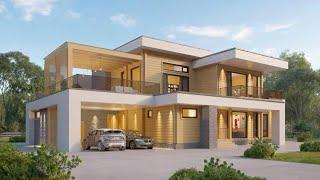 Проект дома в стиле Хай Тек. Дом с сауной, террасой, балконом и гаражом. Ремстройсервис RH-459