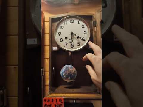 藏家朋友托售賠錢換現金~早期日本古董老鐘單音棒/愛知 aichi tokei 發條機械鐘 /運行敲鐘功能正常/保存很完整
