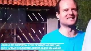 Ator Vitor morosini que caiu de 5°andar em Barretos rever equipe de SAMU que o ajudou e se emociona