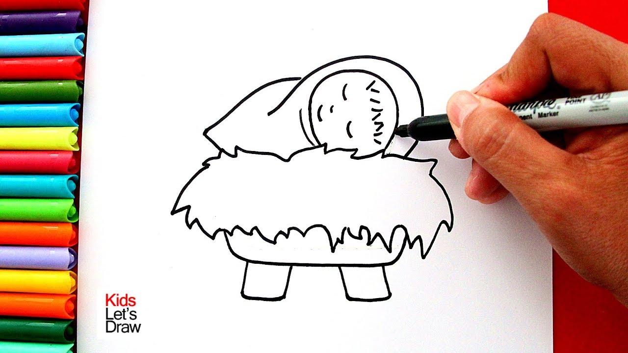 Aprende A Dibujar Al Niño Jesús En Su Pesebre Fácil How To Draw Baby Jesus In A Manger Nativity