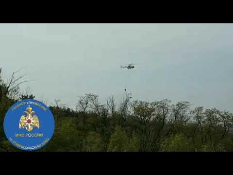 К тушению пожара под Бешпагиром привлекли вертолёт. Видео: ГУ МЧС России по СК