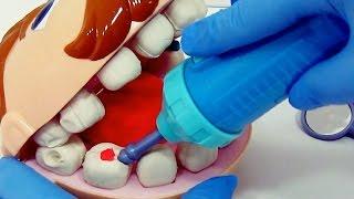 """Teatrinho: Ed vai ao dentista - play doh brincando de massinha! """"Doctor fill n drill"""""""