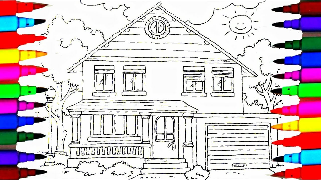 Coloring Book Family House Coloring