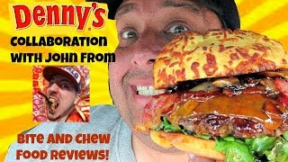 Denny's® Bourbon Bacon Burger w/Bite And Chew Food Reviews!