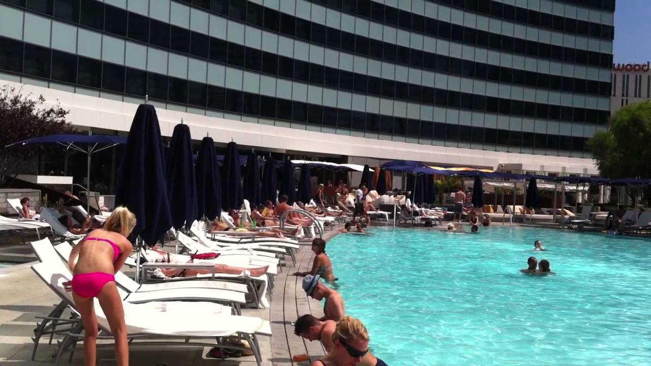 View from the pool at the vdara las vegas in september for Nspi pool show vegas