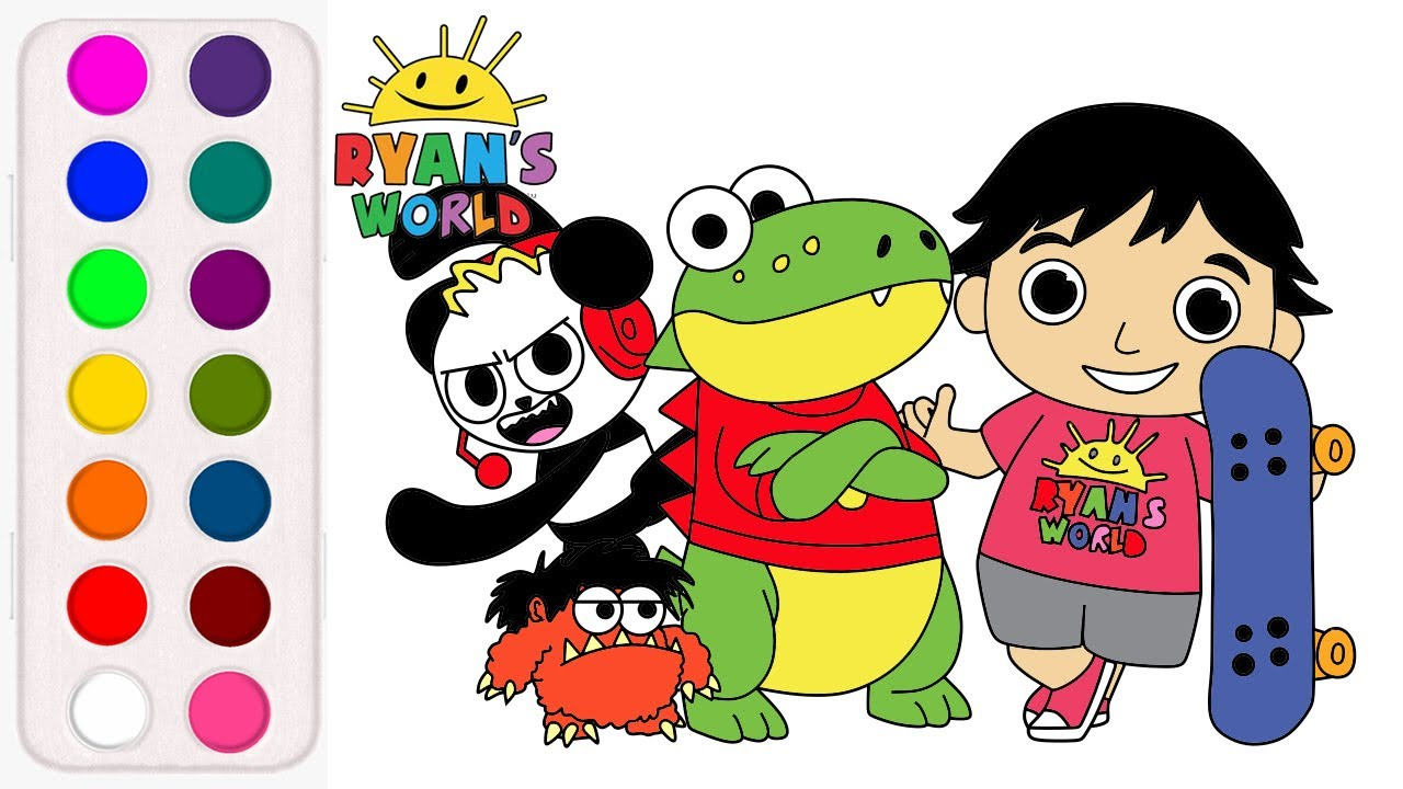 How To Draw And Color Ryan World Ryan Combo Panda Gus The Gummy Gator And Moe Youtube