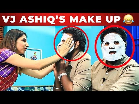 VIJAY TV Bhavana's Make Up Attempt to Vj Ashiq   Fun Unlimited   What's Inside the HANDBAG