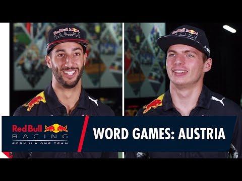 Lederhosen, Apfelstrudel and Falco? Daniel Ricciardo and Max Verstappen play Austrian Word games!