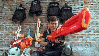 GUGU Nerf War : Special Mission CID Dragon Nerf Guns Fight Criminal Group SKMAN Mask Face Flip SPY