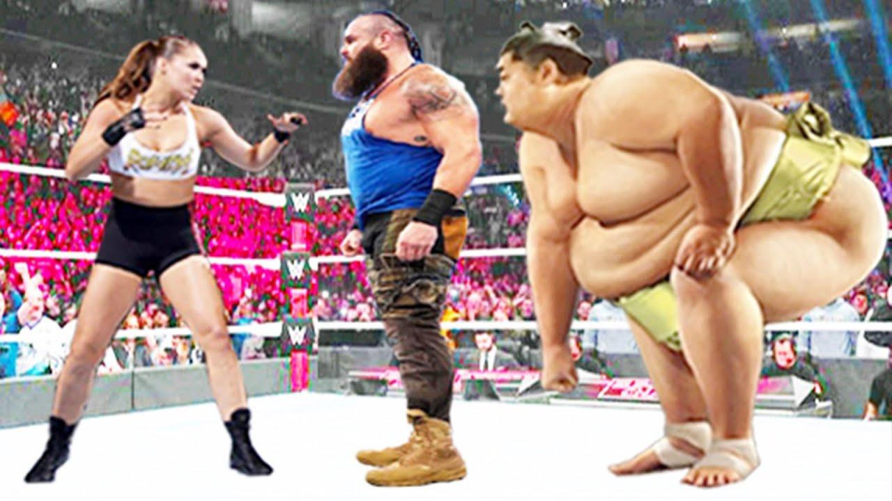 Ronda Rousey vs Braun Strowman vs Sumo Wrestler - Iron Man Match
