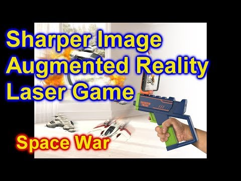 Sharper Image AR Blaster Augmented Reality Laser Game 4 SPACE WAR Shooting Space Ships