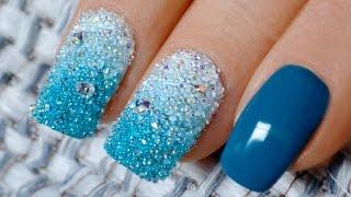 Градиент с кристальной крошкой Crystal Pixie Дизайн ногтей