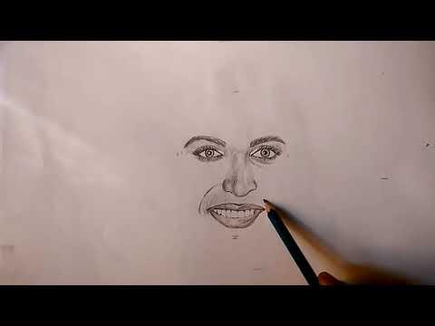 Part 1 How to draw Female smiley face//Deepika ki pencil ...