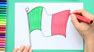 How to draw and color the National Flag of Italy