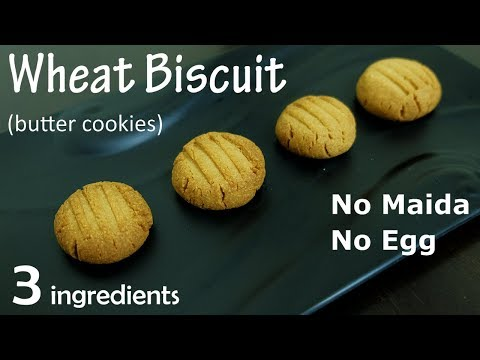 Wheat Biscuit   3 Ingredient Butter Cookies   How To Make Atta Biscuit At Home   No Maida, No Egg