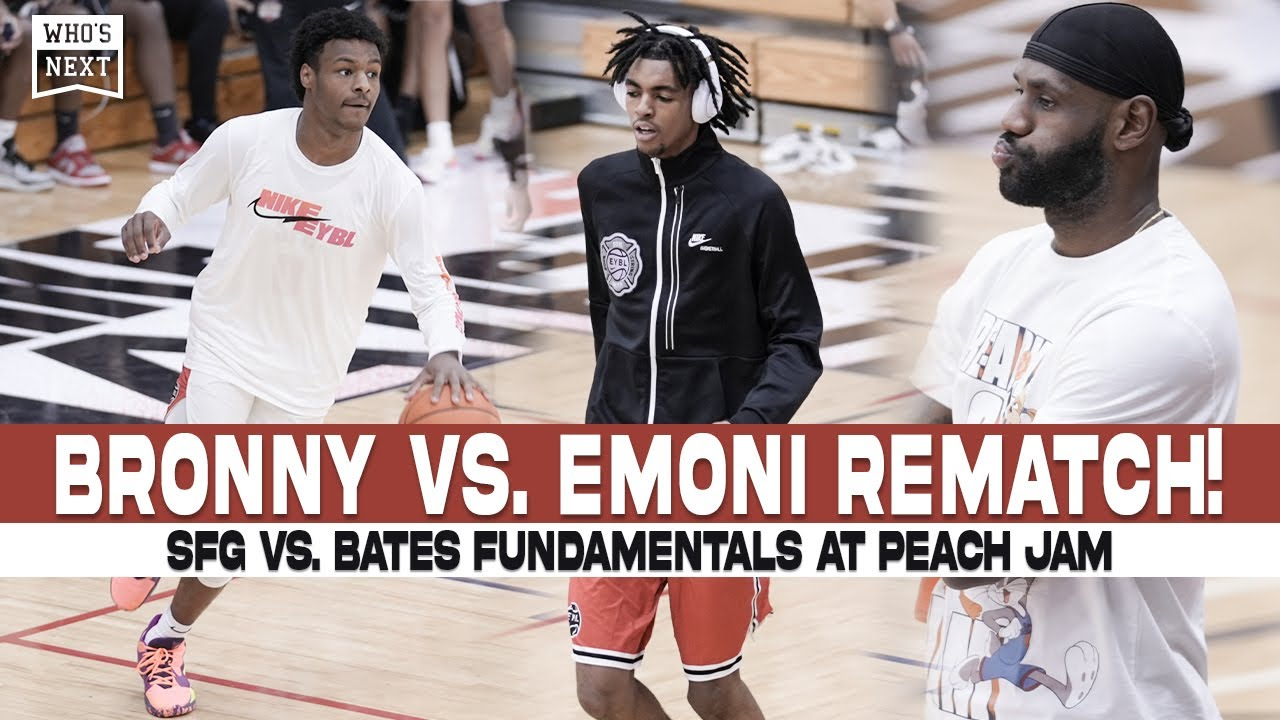 Download Bronny vs. Emoni in front of LeBron at Peach Jam! ONE POINT game!!