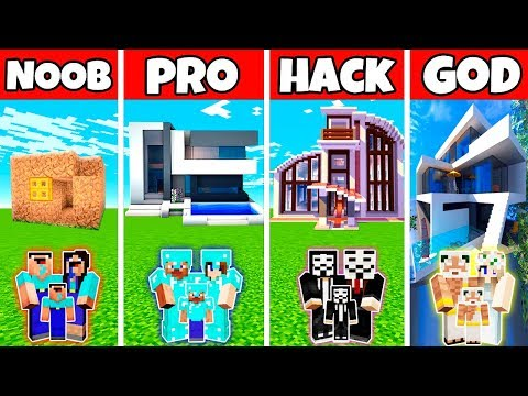 Minecraft: FAMILY ELEGANT HOUSE BUILD CHALLENGE - NOOB Vs PRO Vs HACKER Vs GOD In Minecraft