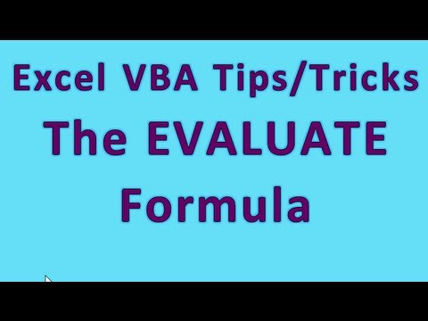 Excel VBA Tips N Tricks #3 Most Powerful Function In Excel Visual Basic - The EVALUATE Formula