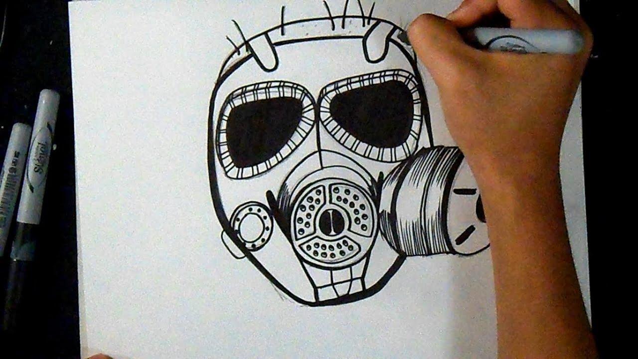 como desenhar uma máscara de gás grafite youtube
