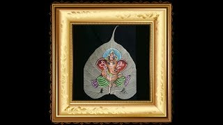 how to paint Lord Ganesha on peepal leaf mesh/how to paint leaf skeleton