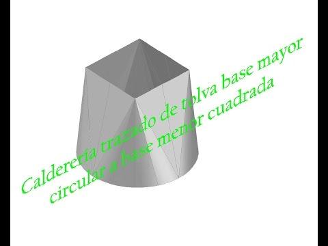 Caldereria trazado de tolva base mayor circular  a base menor cuadrada