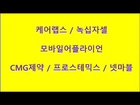 케어랩스 / 모바일어플라이언 / 녹십자셀 / CMG제약 / 프로스테믹스 / 넷마블