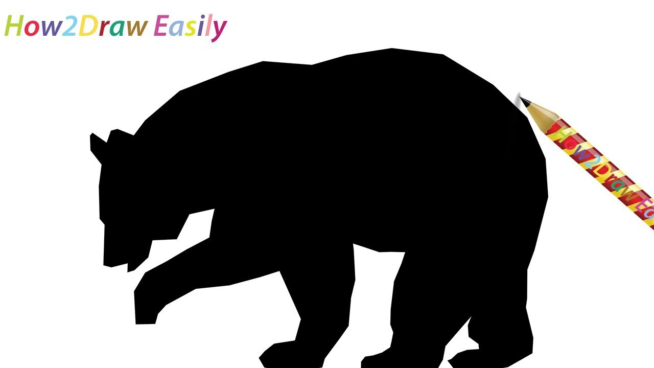 How To Draw A Bear Silhouette Easy Step By Step Drawing Youtube
