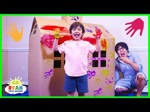 Ryan DIY Pretend Play Box Fort House and Paint playtime!