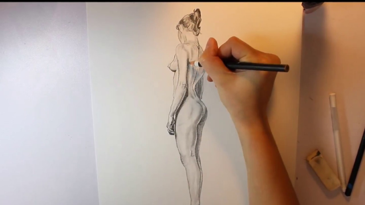 Nude charcoal drawing of female