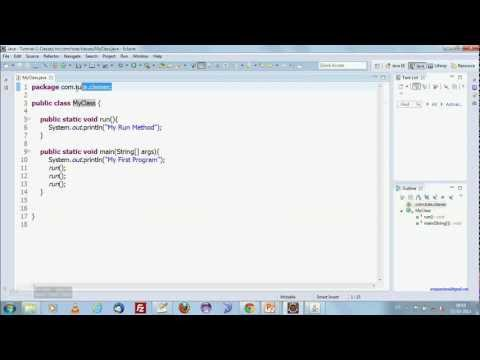 Java tutorial with eclipse - 3 - classes and methods