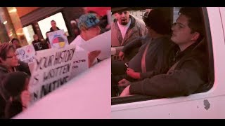 Man Gets Fed Up With Columbus Day Protesters Runs Them Over !!!