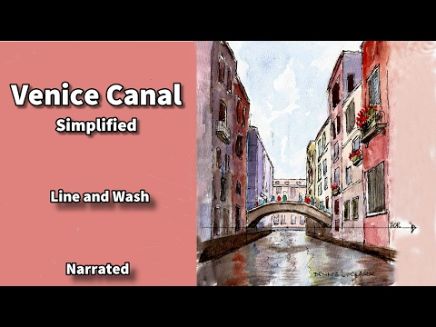 how to draw and paint a venice canal in one point perspective