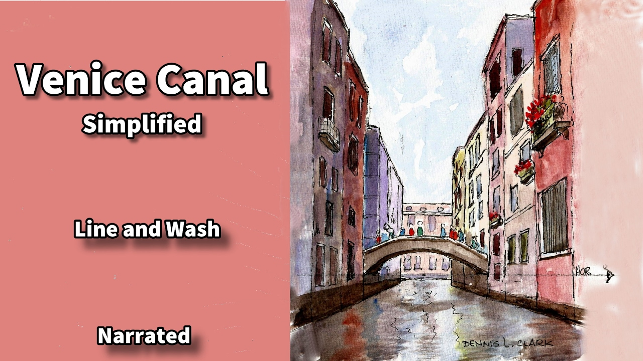 Line Drawing Venice : How to draw and paint a venice canal in one point