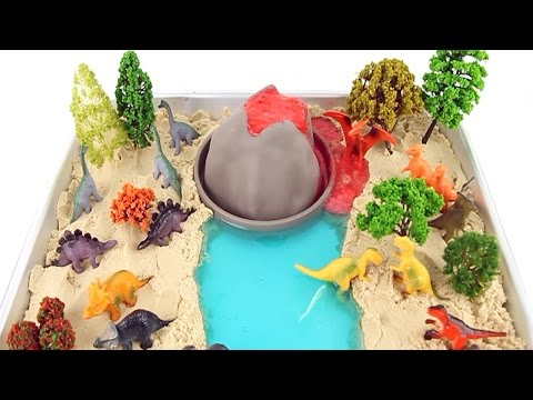 DIY Volcano Eruption With Lava: Dinosaur Volcano - 공룡 화산폭발 실험 놀이- Learn Names Of Dinosaurs For Kids