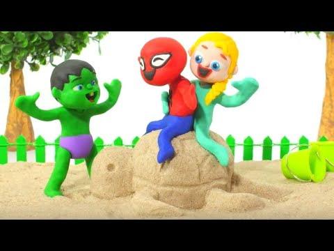SUPERHERO BABIES PLAY WITH SAND ❤ Hulk & Frozen Elsa Play Doh Cartoons For Kids