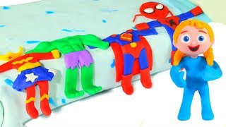 FUNNY KIDS HAVE SUPERHERO COSTUMES ❤  Play Doh Cartoons For Kids