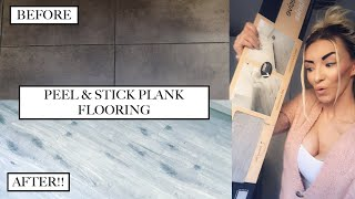 HOW TO INSTALL PEEL AND STICK VINYL FLOORING | DIY HACKS | PART 3 KITCHEN MAKEOVER