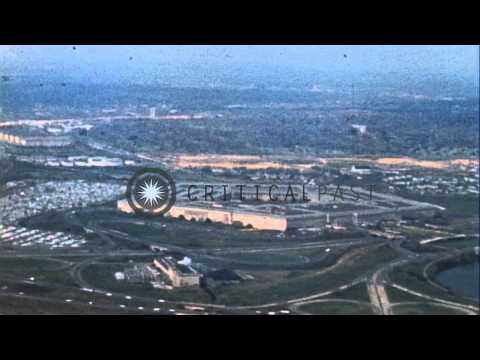 An aerial view of the Pentagon building in Virginia, United States. HD Stock Footage