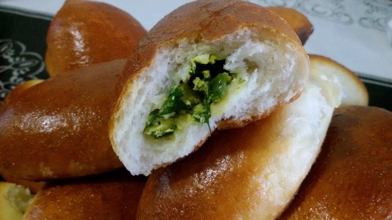 Пирожки с зелёным луком и яйцом. Очень простые и вкусные!
