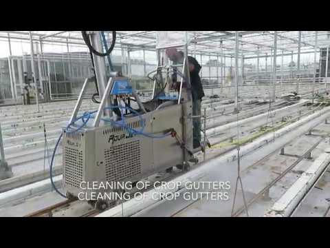 Cleaning The Interior Of A Greenhouse With The Aquajet Roof Washer Youtube