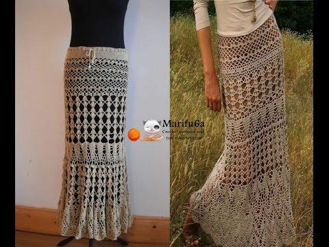 How to crochet maxi skirt free pattern tutorial by marifu6a