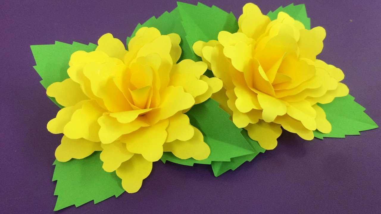 how to make yellow paper flower