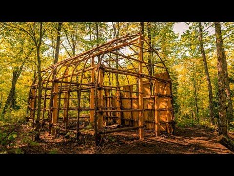 Native American Longhouse Build, Ep2 | Natural Materials, Ash Tree Bark, Bushcraft Shelter