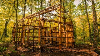 Native American Longhouse Build, Ep2 | Natural Materials, Ash Tree Bark, Bushcraft Shelter