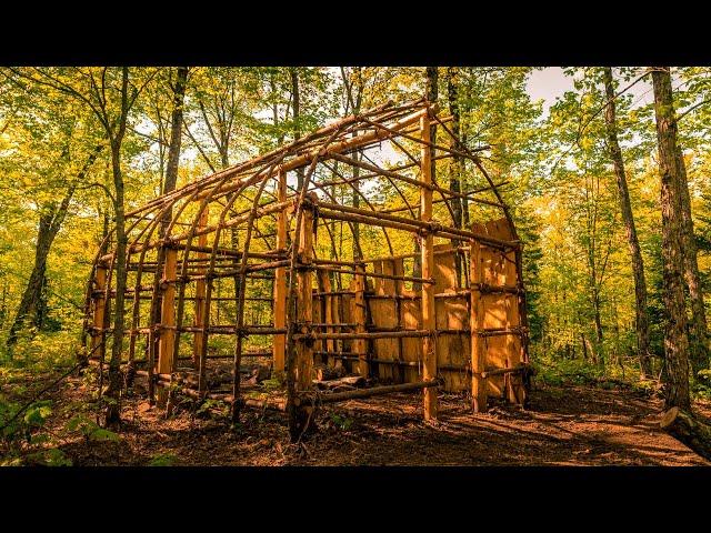 Native American Longhouse Build, Ep2   Natural Materials, Ash Tree Bark, Bushcraft Shelter